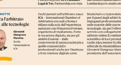 Sole 24 Ore: Vocazione digitale per ICA- International Chamber of Arbitration